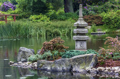 Japanese garden - stone tower and island Stock Images