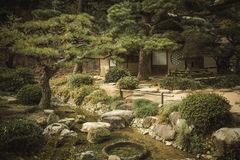Japanese garden at sunset. In Ritsurin Park, Takamatsu, Japan Royalty Free Stock Image