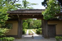 Japanese garden. When we take a walk around the Japanese garden, our mind settles down strangely. The chirping of the little birds is heard from the trees, and Stock Images