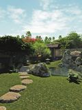 Japanese Garden with Tea House and Pond. Japanese traditional garden with tea house and koi pond, 3d digitally rendered illustration royalty free illustration