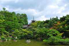 Japanese garden with temple Royalty Free Stock Image