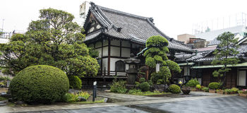 Japanese garden and temple Royalty Free Stock Photo