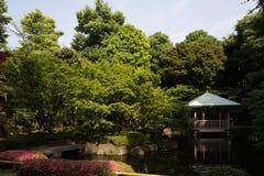 Japanese garden in Tokyo, Japan. General view of the Japanese garden in Tokyo, Japan Stock Photo