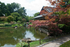 Japanese garden. A view of a Japanese garden with ceremonial house and pond Stock Photography