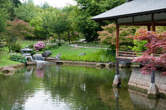 Japanese garden. A view of a Japanese garden with ceremonial house and pond Stock Image