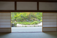 Japanese garden. View of Japanese garden from inside the room, Tenryuji Temple, Kyoto, Japan Royalty Free Stock Images