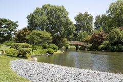 Japanese garden view in Missouri Botanical garden royalty free stock photography