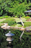 Japanese garden with water reflection royalty free stock photography