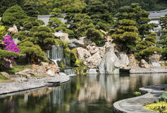 Japanese Garden with waterfall Royalty Free Stock Images