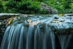 Japanese Garden Waterfall Stock Photo