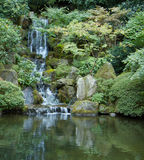 Japanese garden waterfall vert. left Stock Photography