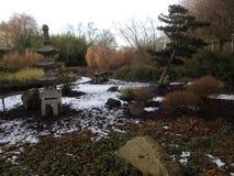Japanese Garden in wintertime Stock Photos