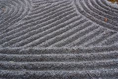 Japanese garden zen. Sand grinding pattern in the temple grounds.  It's the special art in  Japanese rock garden Royalty Free Stock Images