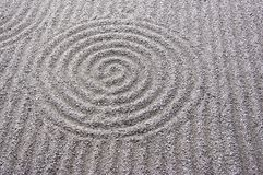 Japanese garden zen. Sand grinding pattern in the temple grounds.  It's the special art in  Japanese rock garden Stock Image