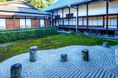 Japanese garden , zen stone and home.  Stock Photography