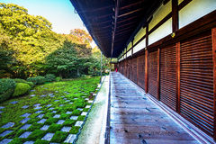 Japanese garden , zen stone and home.  Royalty Free Stock Photography