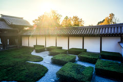 Japanese garden , zen stone and temple Stock Image