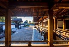 Japanese garden , zen stone and temple Stock Photos