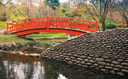 Japanese garden zen. Japanese zen garden Japanese style with a red bridge Royalty Free Stock Images