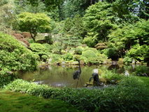 Japanese gardens with pond. Portland OR. Royalty Free Stock Photography