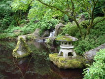 Japanese gardens with pond. Portland OR. Stock Image