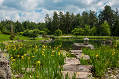 Japanese gardens. Spring day at the japanese gardens of the devonian Royalty Free Stock Images