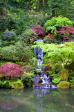 Japanese Gardens Waterfall Portrait Royalty Free Stock Photo