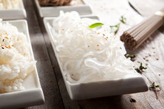 Japanese Garnish. Various Noodles and Garnish on Wooden Background royalty free stock photo