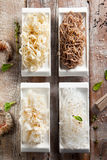 Japanese Garnish. Various Noodles and Garnish on Wooden Background stock photos