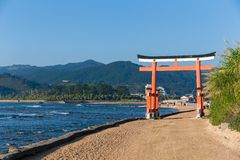 Japanese gate on aoshima Island Stock Photography