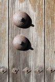 Japanese gate door. Japanese shrine or temple old wooden gate door Stock Photo