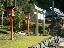Japanese gate and Lanterns. Japanese traditional gate and red lanterns at temple entrance, Okayama Stock Image