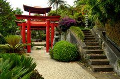 Japanese gate at Monte Palace tropical garden Stock Images