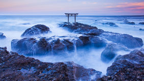 Japanese gate and sea royalty free stock images