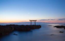 Japanese gate and sea at Oarai Ibaraki prefecture Stock Images