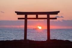 Japanese gate and sea at Oarai Ibaraki prefecture Stock Photos