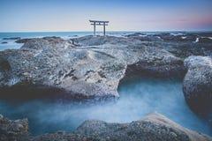 Japanese gate and sea at Oarai Ibaraki prefecture Stock Photo