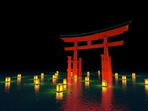 Japanese gate in water with lanterns at night royalty free illustration