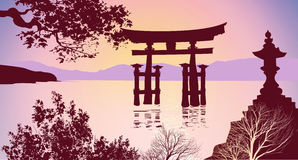 Japanese gates mountains and trees Royalty Free Stock Photo