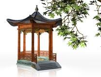 Japanese gazebo. 3d illustration of oriental pavilion on white background Stock Image