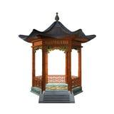 Japanese gazebo. 3d illustration of oriental pavilion isolated on white background - front view Royalty Free Stock Image