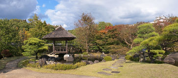 Japanese gazebo in the park in Himeji royalty free stock photo