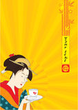 Japanese Geisha Background Stock Images