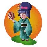 Japanese geisha character waving a fan stock illustration