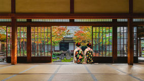 Japanese Geisha at in Colorful Autumn at Kenninji Temple in Kyoto Stock Photos