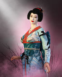 Japanese Geisha Girl, Japan Woman. Traditional Japanese Geisha girl or Oriental woman. The elegant lady of Japan is pretty and beautiful and wearing a Royalty Free Stock Photos