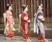 Japanese Geisha Girls or Maiko Girls Royalty Free Stock Images
