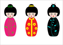 Japanese Geisha Kokeshi dolls Stock Photos