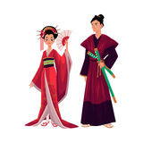 Japanese geisha and samurai in traditional kimono, symbols of Japan. Cartoon vector illustration isolated on white background. Full length portrait of typical royalty free illustration