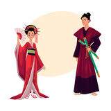 Japanese geisha and samurai in traditional kimono, symbols of Japan Stock Photography